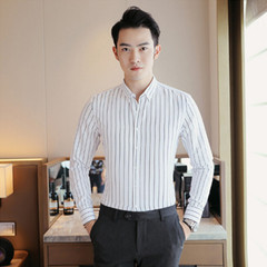 Slim and handsome new business shirt with casual and fashionable stripes white m