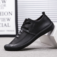 New 2019 ultrafine business casual breathable lace-up round-toed men's shoes black 6.5
