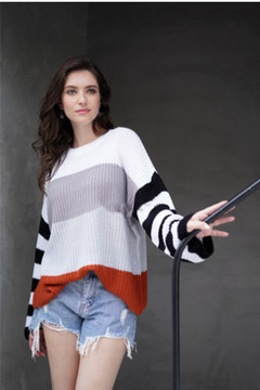 2019 autumn new color patchwork knitwear, temperament commuting loose sweater gray s
