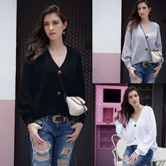 Fall 2019 new fashion cardigan, solid color button v-neck sweater, warm loose over sweater gray s