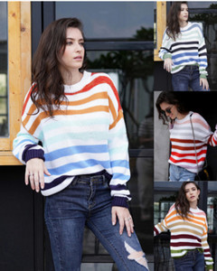 Autumn 2019 rainbow striped sweater and pullover green s