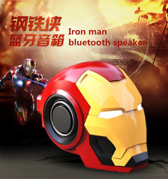 New iron man mini bluetooth speaker, creative gift wireless smart radio bass card phone audio Red and yellow Iron man