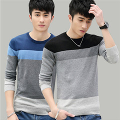 New round neck pullover sweater, fashionable men casual fashion sweater, thin sweater black m