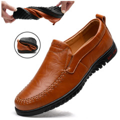 2019 new leather British retro casual leather shoes, loafers black 6.5