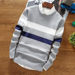 New fashion patchwork stripe pullover, casual crochet stripe sweater 1 m