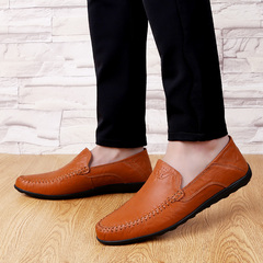 Men's Genuine Leather Loafers Male Casual Leather Shoes Doug Boat Leather Driving Shoes Slip Red Brown 37