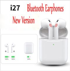 i27 Bluetooth Earpods Wireless Earphones Headsets HiFi Stereo Sound Good Sound  for Android iPhone white