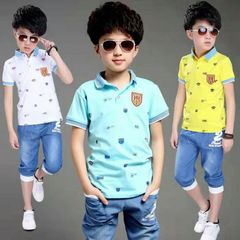 Boys clothes boy's Polo top with jeans summer sports suits boy's summer jeans blue top and jeans suit 120cm ( one size smaller than the normal size)
