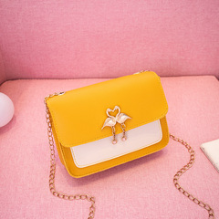 Fashion Women handbags Cross Body bag Ladies Chain bag Swan bag houlder bag phone bag Tote bag Yellow 18*5.5*14cm