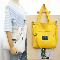 Fashion women handbags popular Canvas bag shoulder bag outer pocket zipper tote bag shopping bag yellow 33*6*35cm