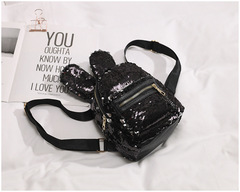 Fashion women packpack paillette shining double shoulder bag lovely ladies cartoon rabbit bag black 17.5*19.5*11cm