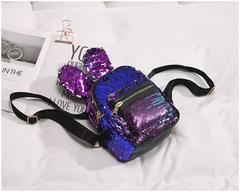 Fashion women packpack paillette shining double shoulder bag lovely ladies cartoon rabbit bag purple 17.5*19.5*11cm