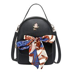Fashion Women backpacks ladies handbags students school bags silk scarf bag small travel backpack black free size