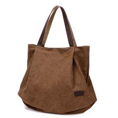 Fashion women handbags popular canvas  bag female shoulder bag joker bag casual bag coffee one size