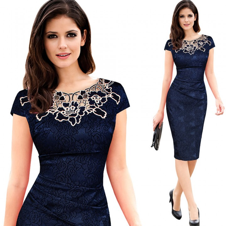 ed901e42ab558 Gamiss Elegant Vintage Embroidery Delicate Fabric Dress Blue M