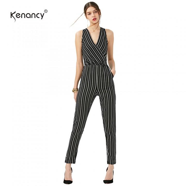 d3f2e59be24 Kenancy Casual Stripe Sexy V-neck Backless Elastick Waist Slim Romper  Bodycon Jumpsuit STRIPES M