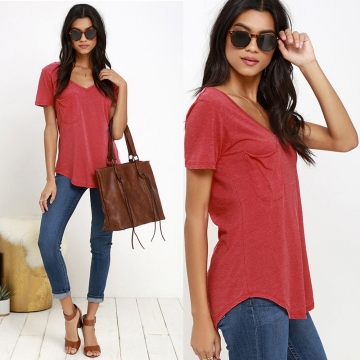 (BUY 1 GET 2 GIFTS) Pocket V-neck Pure Color Woman Short Sleeve T-shirt Red S