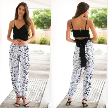 Knickers Women Casul Ink Printing Wide-leg Harem Pants White XL