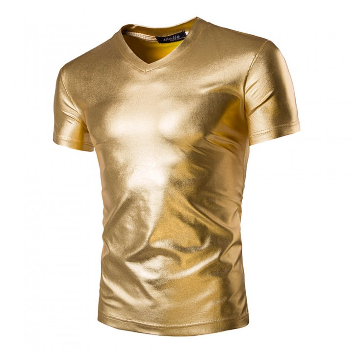 d703dc9d6 New Men Fashion Bright Trim V-neck Short Sleeve T-shirt Gold 2XL