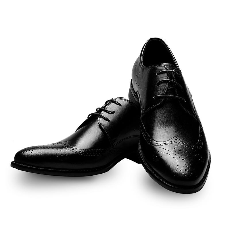 hommes zaful classique des chaussures en cuir noir, dentelle bout de bout dentelle d'aile bc28ed
