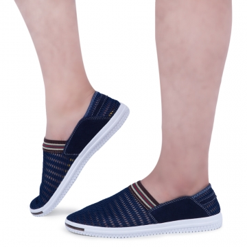 Male Patchwork Elastic Band Mesh Breathable Casual Shoes Deep Blue 42