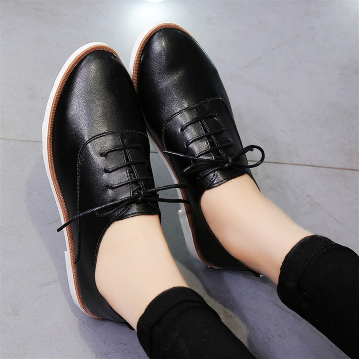Women's Casual Lace Up Soft Leather Comfortable Oxford Shoes Black 36
