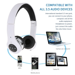 (Buy 1 get 2 Gifts) Stretchable & Foldable Wireless Bluetooth Headset Headphone White