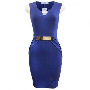 Julie Buckle Detail Bodycon Dress - Blue S