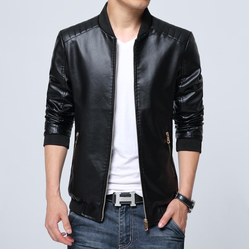 Port Lotus Men Pu Jacket New Outdoor Men Coats Pure Color Formal Men