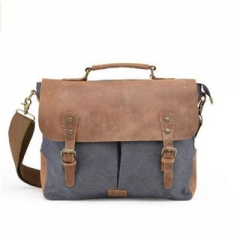 Shoulder Bag Canvas Messenger Bags For Men Laptop portable Full Grain Leather Trim Grey one size