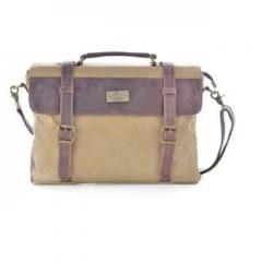 Shoulder Bag Vintage Canvas Leather Messenger Bag Laptop For Men's Portable Briefcase Bags Khaki one size