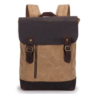 a4774bd9b Guaranteed 100% Genuine Leather Canvas Backpack Shoulder Bag Leisure Backpacks  Travel Shopping Bags Khaki one