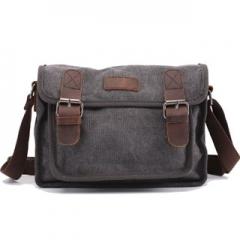 Messager Men'sleather Canvas Bags handbag Casual Travel Bolsa Masculina Men's Crossbody Shoulder Bag Grey one size