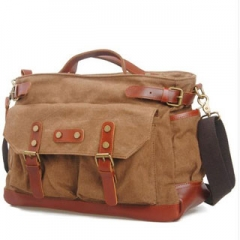 Briefcase/Attache Message Bags For Men Genuine Leather Single-Shoulder Canvas Travel Bags Coffee one size