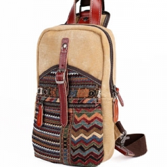 Canvas Genuine Leather Cross Body Chest Pack special feature folk style causal Bohemia feel Khaki one size