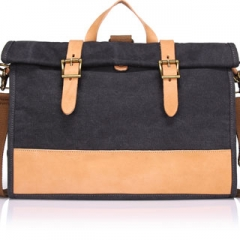 Canvas Multifunctional Messenger bag  leather belts patchwork multicolor shoulder bag casual Grey one size