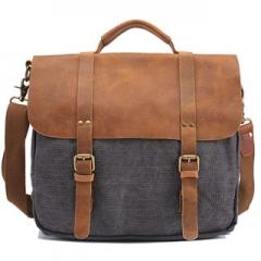 Messenger/Shoulder Bag Fashion Men Vintage Canvas Leather Messenger Shool Bag Grey one size