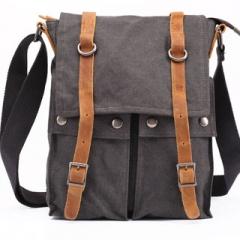 Europe retro men's small messenger bag canvas shoulder bag Grey one size