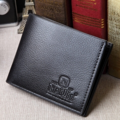 Short man purse leather PU wallet cross section youth leisure business  wallet Black One size