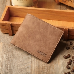 2016 Vintage men short wallet  cross section soft wallet simple personality of young students Khaki One size