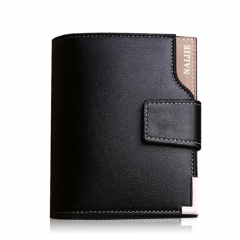 Men's short paragraph Wallet  business casual leather vertical paragraph hand bag youth Wallet Black One size