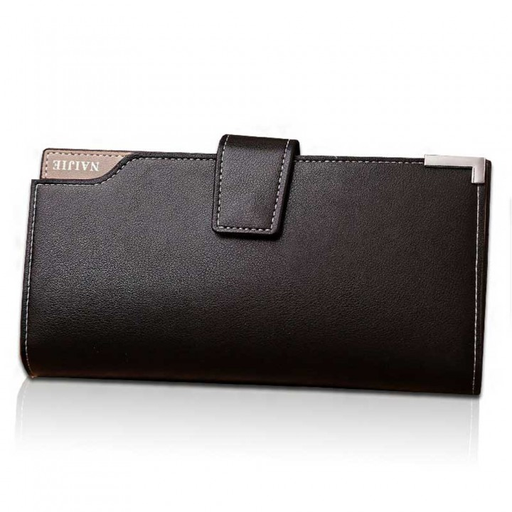 Men's Long Wallet business casual leather multi card hand bag youth Wallet Brown One size
