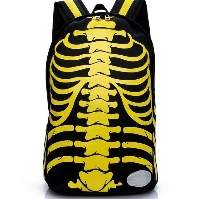 2b6e1ec02b2b 2017 human skeleton personality Backpacks casual unisex backpack Trend  Travel Bag Waterproof bag yellow one size