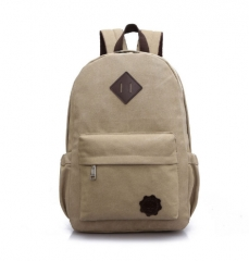 Canvas Men's Backpack School Casual Travel Vintage Style Rucksack Shoulder Bags Laptop Multifunction khaki one size
