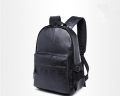 2017 Korean Style Men Backpack Top Quality Leather Double Shoulder Bags School Bag Book Rucksack men black one size