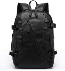 PU Patent Leather Backpacks Men's Fashion Backpack & Travel Bags Western College Style Bags black one size