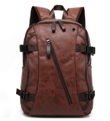 PU Patent Leather Backpacks Men's Fashion Backpack & Travel Bags Western College Style Bags brown one size