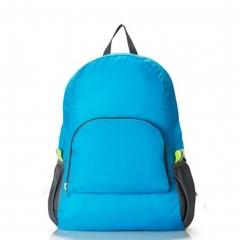 2017 Portable Fashion Travel Backpacks Zipper Soild Nylon BackPack  Folding Bag blue one size
