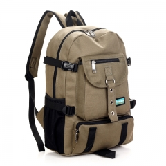 New Fashion arcuate shouider strap zipper solid casual bag male backpack school bag canvas bag beige one size