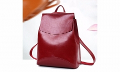 PU Leather School Bags For Girls Vintage Women Backpack Black Casual Rucksack Ladies Travel Bag red one size